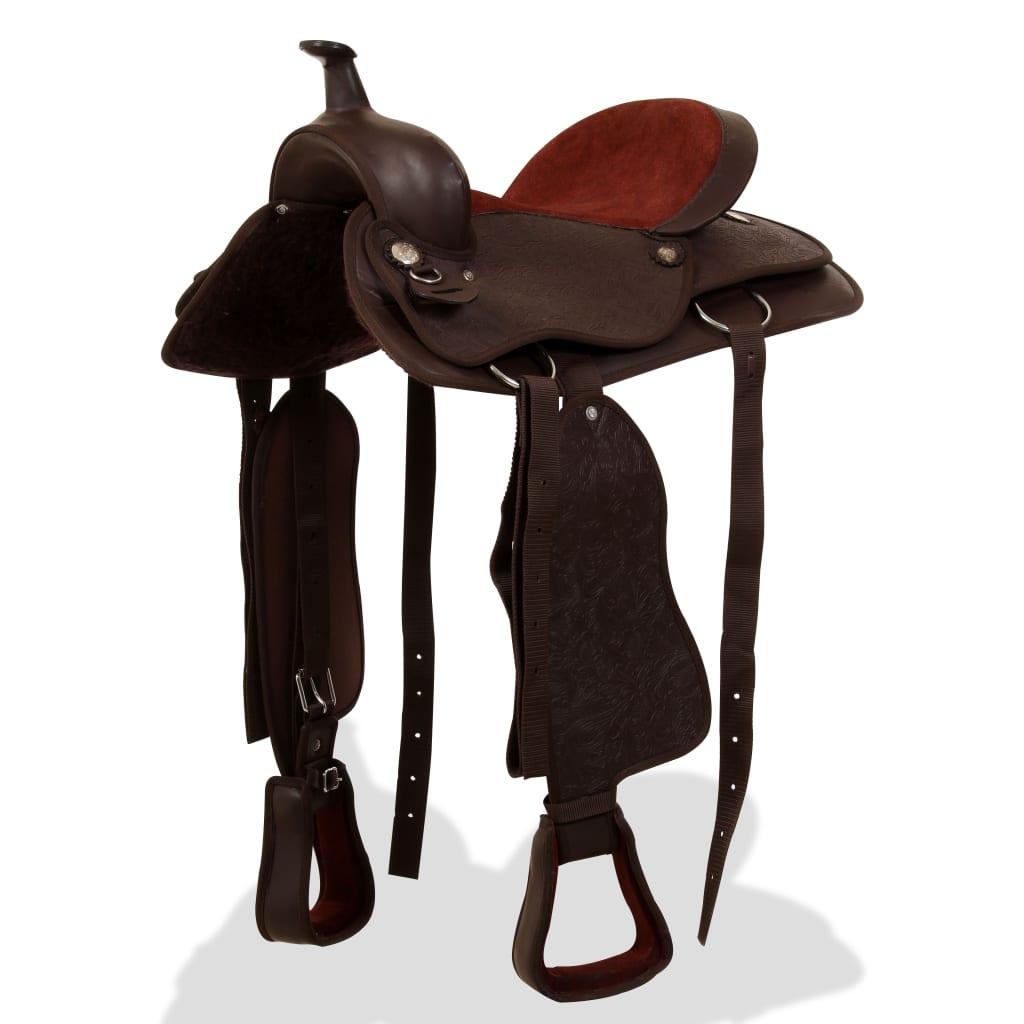 """vidaXL Westernové sedlo pro koně, set, pravá kůže 17"""" hnědé"""
