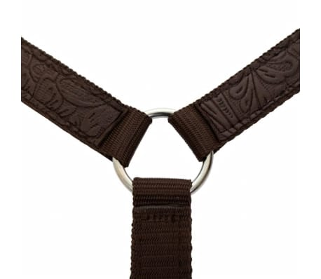 "vidaXL Western Saddle, Headstall&Breast Collar Real Leather 17"" Brown[13/16]"