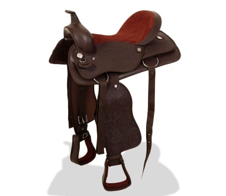 "vidaXL Western Saddle, Headstall&Breast Collar Real Leather 17"" Brown[3/16]"