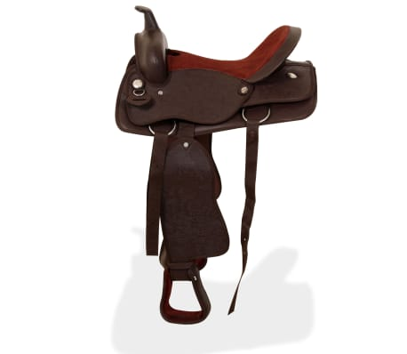 "vidaXL Western Saddle, Headstall&Breast Collar Real Leather 17"" Brown[4/16]"