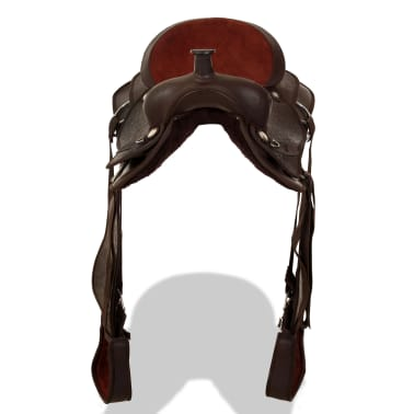 "vidaXL Western Saddle, Headstall&Breast Collar Real Leather 17"" Brown[5/16]"