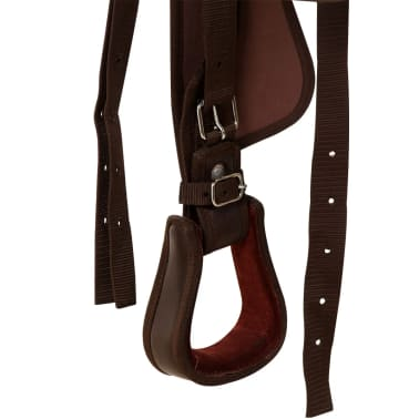 "vidaXL Western Saddle, Headstall&Breast Collar Real Leather 17"" Brown[10/16]"