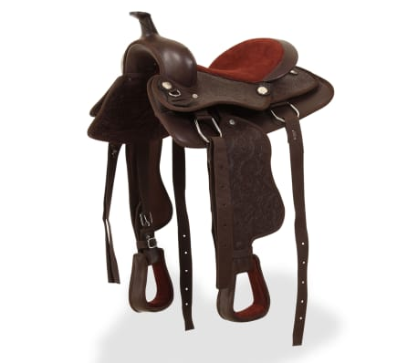 "vidaXL Western Saddle, Headstall&Breast Collar Real Leather 12"" Brown[1/16]"