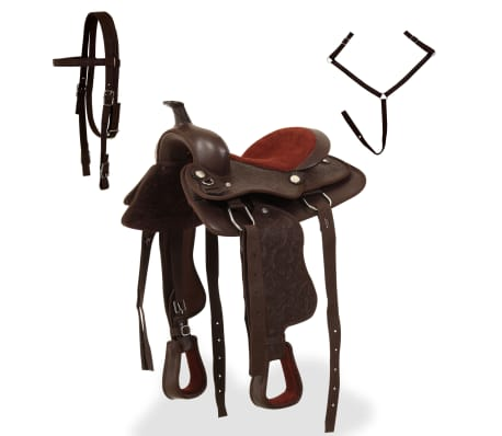 "vidaXL Western Saddle, Headstall&Breast Collar Real Leather 12"" Brown[2/16]"