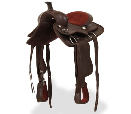 "vidaXL Western Saddle, Headstall&Breast Collar Real Leather 12"" Brown[3/16]"