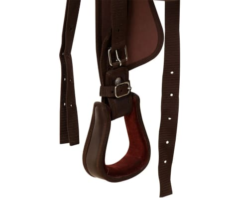 "vidaXL Western Saddle, Headstall&Breast Collar Real Leather 12"" Brown[10/16]"