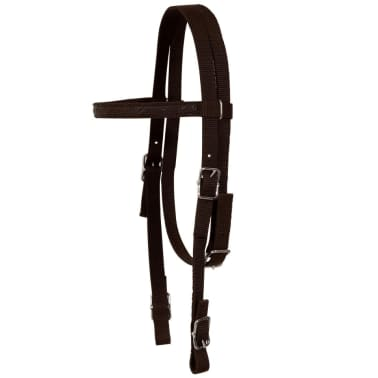 "vidaXL Western Saddle, Headstall&Breast Collar Real Leather 12"" Brown[11/16]"