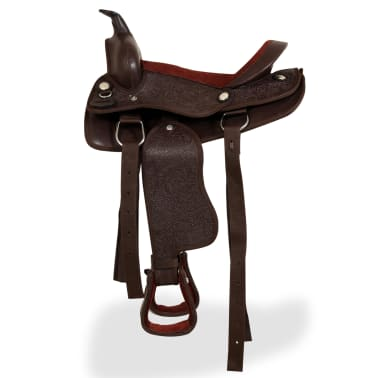 "vidaXL Western Saddle, Headstall&Breast Collar Real Leather 12"" Brown[4/16]"