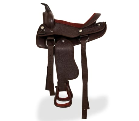 """vidaXL Western Saddle, Headstall&Breast Collar Real Leather 13"""" Brown[4/16]"""