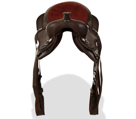"""vidaXL Western Saddle, Headstall&Breast Collar Real Leather 13"""" Brown[6/16]"""