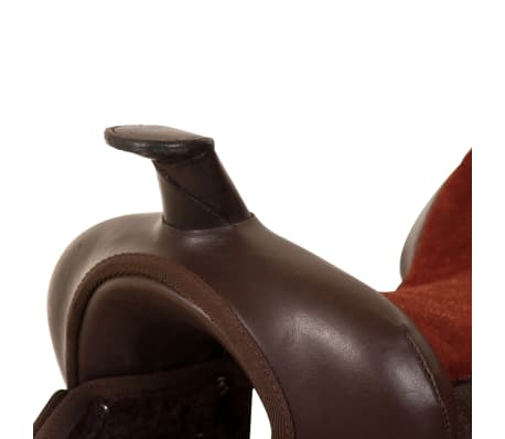 """vidaXL Western Saddle, Headstall&Breast Collar Real Leather 13"""" Brown[7/16]"""