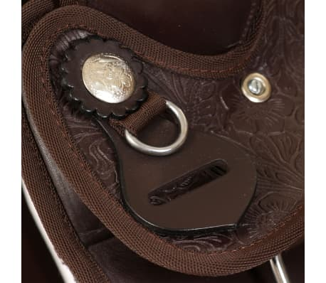 """vidaXL Western Saddle, Headstall&Breast Collar Real Leather 13"""" Brown[9/16]"""
