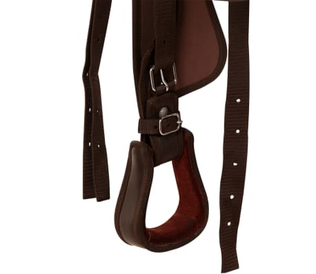 """vidaXL Western Saddle, Headstall&Breast Collar Real Leather 13"""" Brown[10/16]"""