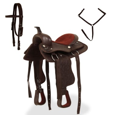 """vidaXL Western Saddle, Headstall&Breast Collar Real Leather 13"""" Brown[2/16]"""