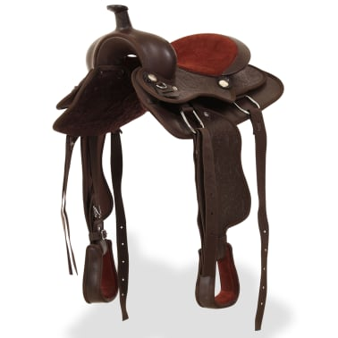 """vidaXL Western Saddle, Headstall&Breast Collar Real Leather 13"""" Brown[3/16]"""