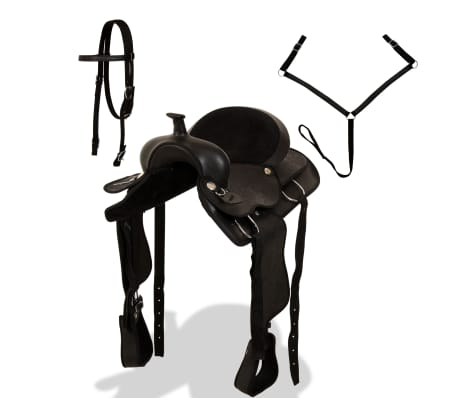 "vidaXL Western Saddle, Headstall&Breast Collar Real Leather 16"" Black[2/17]"