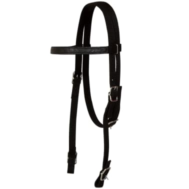 "vidaXL Western Saddle, Headstall&Breast Collar Real Leather 16"" Black[11/17]"