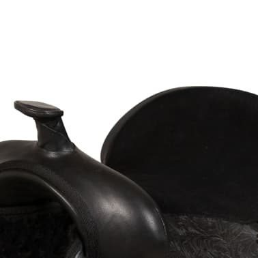 "vidaXL Western Saddle, Headstall&Breast Collar Real Leather 16"" Black[7/17]"