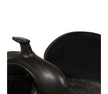 "vidaXL Western Saddle, Headstall&Breast Collar Real Leather 17"" Black[7/17]"