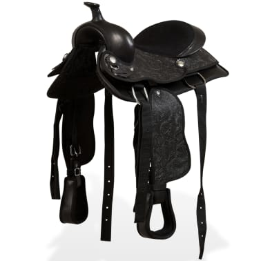 "vidaXL Western Saddle, Headstall&Breast Collar Real Leather 12"" Black[1/16]"