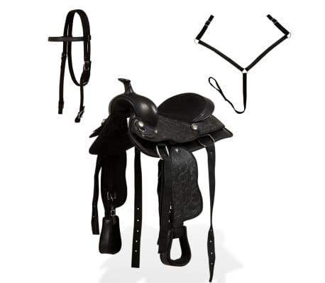 "vidaXL Western Saddle, Headstall&Breast Collar Real Leather 12"" Black[2/16]"
