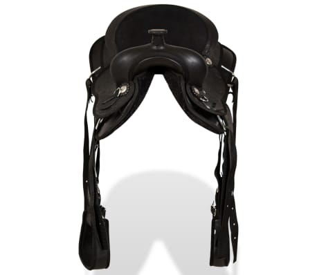 "vidaXL Western Saddle, Headstall&Breast Collar Real Leather 12"" Black[5/16]"