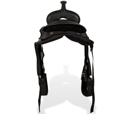 "vidaXL Western Saddle, Headstall&Breast Collar Real Leather 12"" Black[6/16]"