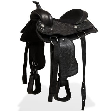 "vidaXL Western Saddle, Headstall&Breast Collar Real Leather 12"" Black[3/16]"
