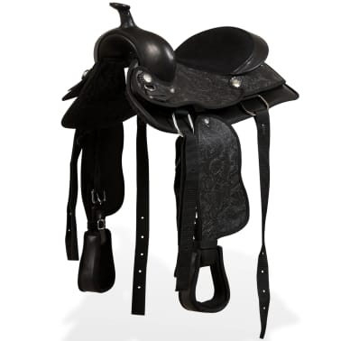 "vidaXL Western Saddle, Headstall&Breast Collar Real Leather 13"" Black[1/17]"
