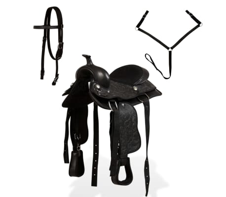 "vidaXL Western Saddle, Headstall&Breast Collar Real Leather 13"" Black[2/17]"