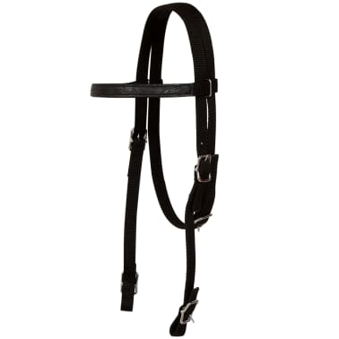 "vidaXL Western Saddle, Headstall&Breast Collar Real Leather 13"" Black[11/17]"