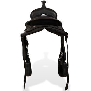 "vidaXL Western Saddle, Headstall&Breast Collar Real Leather 13"" Black[6/17]"