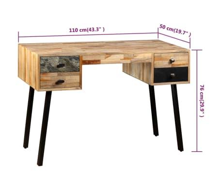 vidaXL Rašomasis stalas, perdirbta mediena, 110x50x76cm[10/14]
