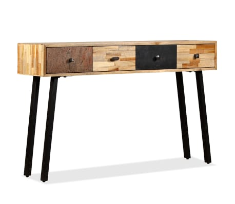 vidaXL Stolik konsola, lite drewno tekowe z odzysku, 120 x 30 x 76 cm[12/14]