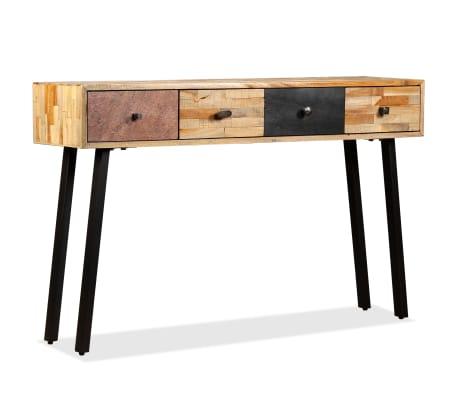 vidaXL Stolik konsola, lite drewno tekowe z odzysku, 120 x 30 x 76 cm[13/14]