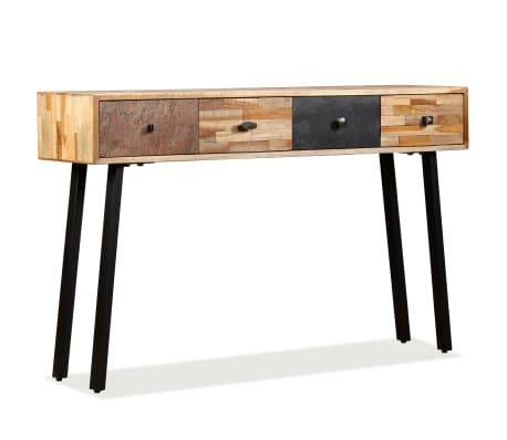 vidaXL Stolik konsola, lite drewno tekowe z odzysku, 120 x 30 x 76 cm[14/14]