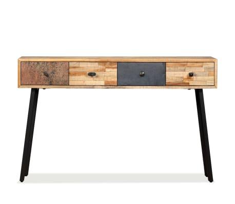 vidaXL Stolik konsola, lite drewno tekowe z odzysku, 120 x 30 x 76 cm[3/14]