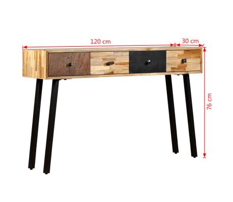 vidaXL Stolik konsola, lite drewno tekowe z odzysku, 120 x 30 x 76 cm[10/14]