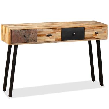 vidaXL Stolik konsola, lite drewno tekowe z odzysku, 120 x 30 x 76 cm[2/14]