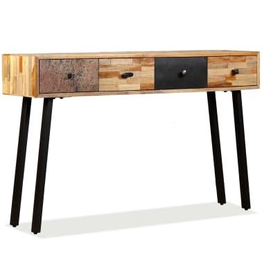 vidaXL Stolik konsola, lite drewno tekowe z odzysku, 120 x 30 x 76 cm[11/14]
