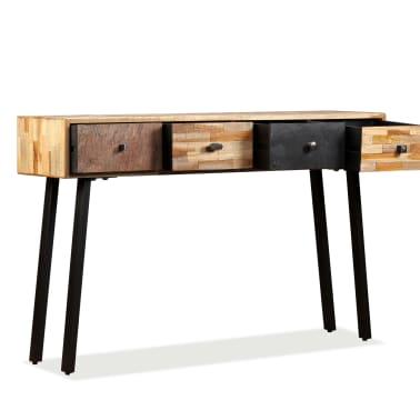 vidaXL Stolik konsola, lite drewno tekowe z odzysku, 120 x 30 x 76 cm[5/14]