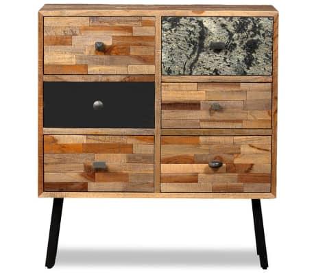 vidaXL Komoda su 6 stalčiais, masyvus perdirbtas tikmedis, 70x30x76 cm[2/15]