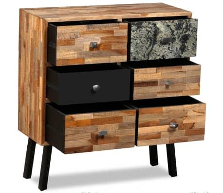 vidaXL Komoda su 6 stalčiais, masyvus perdirbtas tikmedis, 70x30x76 cm[3/15]