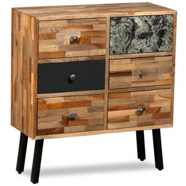 vidaXL Komoda su 6 stalčiais, masyvus perdirbtas tikmedis, 70x30x76 cm[15/15]