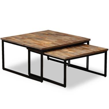 vidaXL Nesting Coffee Table Set 2 Pieces Solid Reclaimed Teak[1/15]