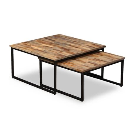 vidaXL Nesting Coffee Table Set 2 Pieces Solid Reclaimed Teak[12/15]