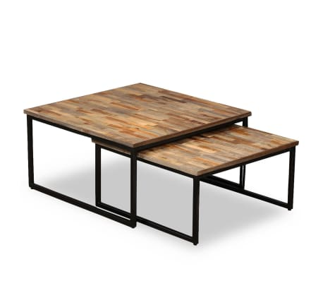 vidaXL Nesting Coffee Table Set 2 Pieces Solid Reclaimed Teak[13/15]