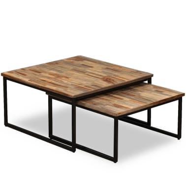 vidaXL Nesting Coffee Table Set 2 Pieces Solid Reclaimed Teak[11/15]