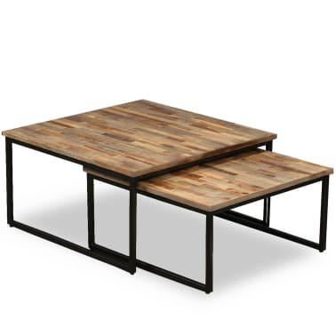 vidaXL Nesting Coffee Table Set 2 Pieces Solid Reclaimed Teak[15/15]