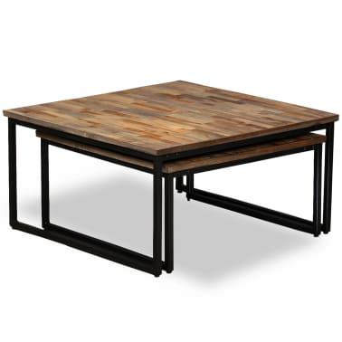 vidaXL Nesting Coffee Table Set 2 Pieces Solid Reclaimed Teak[3/15]
